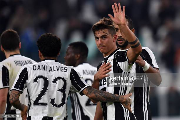 Paulo apologise with fans of Palermo after scoring his team's fourth goal during the Serie A match between Juventus FC and US Citta di Palermo at...