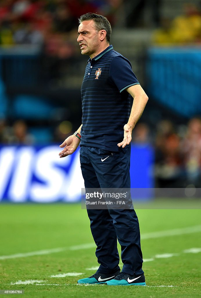 <a gi-track='captionPersonalityLinkClicked' href=/galleries/search?phrase=Paulo+Bento&family=editorial&specificpeople=2076425 ng-click='$event.stopPropagation()'>Paulo Bento</a> of Portugal reacts during the 2014 FIFA World Cup Brazil Group G match between USA and Portugal at Arena Amazonia on June 22, 2014 in Manaus, Brazil.