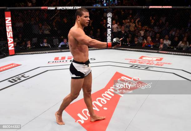 Paulo Borrachinha of Brazil celebrates after his TKO victory over Oluwale Bamgbose in their middleweight bout during the UFC 212 event at Jeunesse...