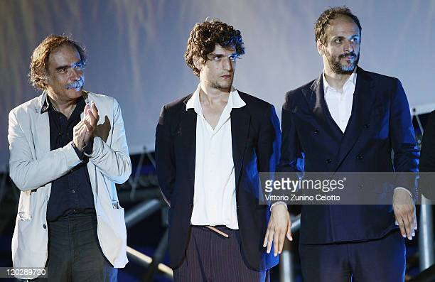 Paulo Branco Louis Garrel Luca Guadagnino attend the 64th Festival del Film di Locarno Juries Presentation on August 3 2011 in Locarno Switzerland