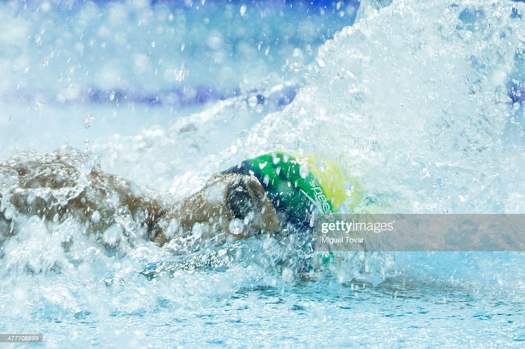Paulo de Santana of Brazil competes in mens 100m freestyle final event during day four of the X South American Games Santiago 2014 at Centro Acuatico Estadio Nacional on March 10, 2014 in Santiago, Chile.