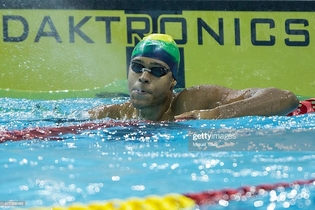 Paulo de Santana of Brazil reacts after winning in mens 100m freestyle final event during day four of the X South American Games Santiago 2014 at Centro Acuatico Estadio Nacional on March 10, 2014 in Santiago, Chile.