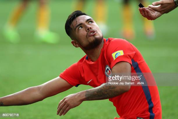 Paulo Diaz of Chile reacts during the FIFA Confederations Cup Russia 2017 Group B match between Chile and Australia at Spartak Stadium on June 25...