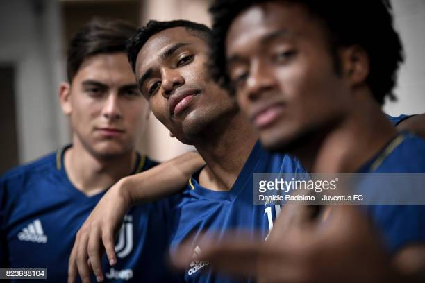 Paulo Dybala Alex Sandro and Juan Cuadrado during the afternoon training session on July 27 2017 in Boston City