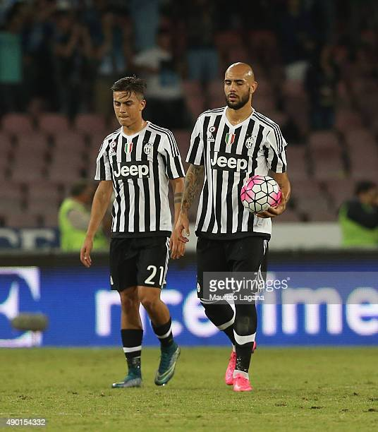 Paulo Dybala and Simone Zaza of Juventus show their dejection during the Serie A match between SSC Napoli and Juventus FC at Stadio San Paolo on...