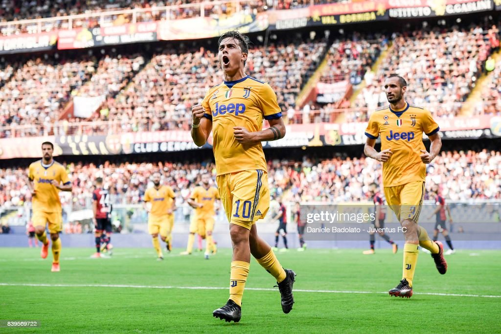 Paulo Dybala celebrates 2-2 goal during the Serie A match between Genoa CFC and Juventus at Stadio Luigi Ferraris on August 26, 2017 in Genoa, Italy.