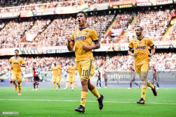 Paulo Dybala celebrates 22 goal during the Serie A match between Genoa CFC and Juventus at Stadio Luigi Ferraris on August 26 2017 in Genoa Italy