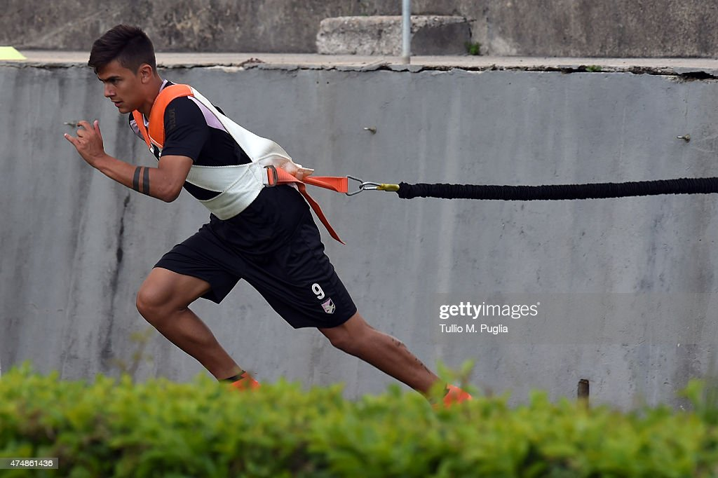Paulo dybala in action during a palermo training session for Onorato arredamenti palermo