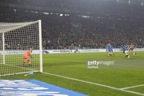 Paulo Dybala kick the first penalty awarded to Juventus during the Italian Cup semifinal between Juventus FC and SSC NAPOLI at Juventus Stadium on...