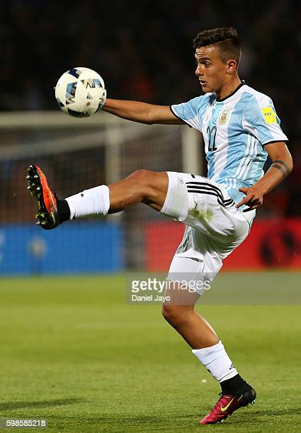 Paulo Dybala of Argentina controls the ball during a match between Argentina and Uruguay as part of FIFA 2018 World Cup Qualifiers at Malvinas...