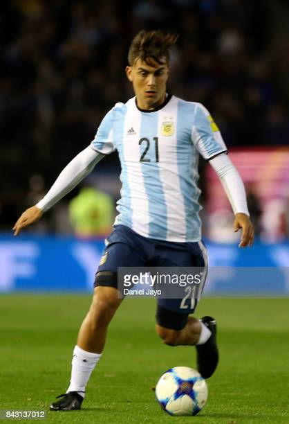 Paulo Dybala of Argentina drives the ball during a match between Argentina and Venezuela as part of FIFA 2018 World Cup Qualifiers at Monumental...