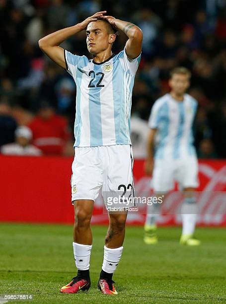 Paulo Dybala of Argentina gestures during a match between Argentina and Uruguay as part of FIFA 2018 World Cup Qualifiers at Malvinas Argentinas...