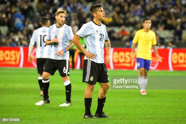 Paulo Dybala of Argentina reacts to a missed shot as Brazil plays Argentina in the Chevrolet Brasil Global Tour on June 9 2017 in Melbourne Australia...