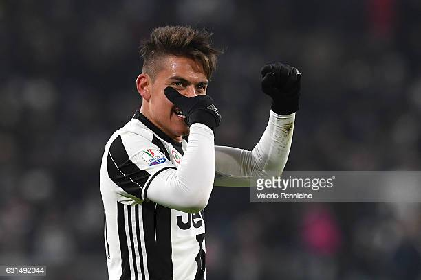 Paulo Dybala of FC Juventus celebrates after scoring the opening goal during the TIM Cup match between FC Juventus and Atalanta BC at Juventus...