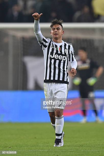 Paulo Dybala of FC Juventus celebrates his goal during the TIM Cup match between FC Juventus and Torino FC at Juventus Arena on December 16 2015 in...