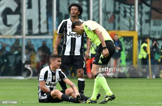 Paulo Dybala of Juvents injured during the Serie A match between UC Sampdoria and Juventus FC at Stadio Luigi Ferraris on March 19 2017 in Genoa Italy