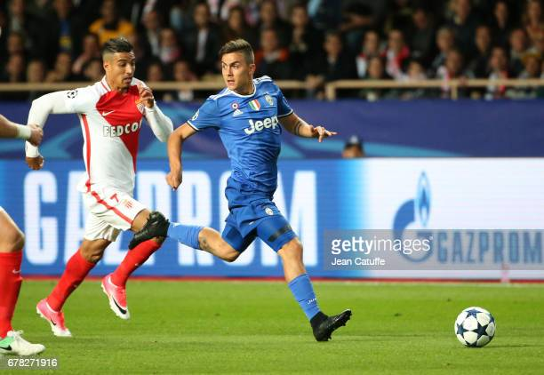 Paulo Dybala of Juventus and Nabil Dirar of Monaco in action during the UEFA Champions League semi final first leg match between AS Monaco and...
