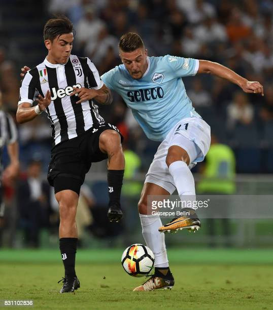 Paulo Dybala of Juventus and Sergej Milinkovic Savic of SS Lazio in action during the Italian Supercup match between Juventus and SS Lazio at Stadio...