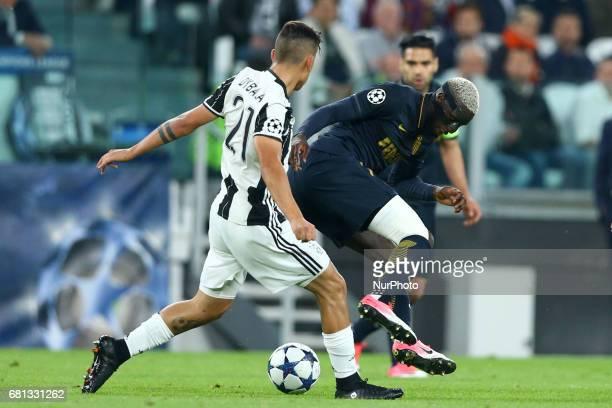 Paulo Dybala of Juventus and Tiemoue Bakayoko of Monaco at Juventus Stadium in Turin Italy on May 9 2017