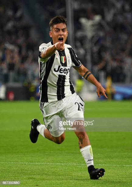 Paulo Dybala of Juventus celebrates after scoring his team's second goal during the UEFA Champions League Quarter Final first leg match between...