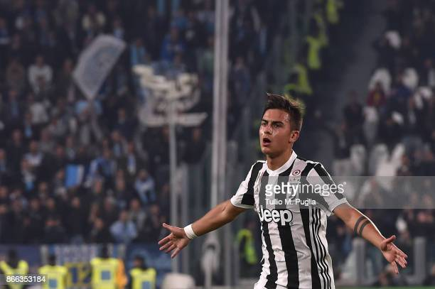 Paulo Dybala of Juventus celebrates after scoring his team's second goal during the Serie A match between Juventus and Spal on October 25 2017 in...