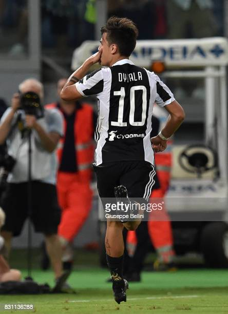 Paulo Dybala of Juventus celebrates after scoring the goal 22 during the Italian Supercup match between Juventus and SS Lazio at Stadio Olimpico on...