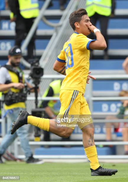 Paulo Dybala of Juventus celebrates after scoring the opening goal during the Serie A match between US Sassuolo and Juventus at Mapei Stadium Citta'...