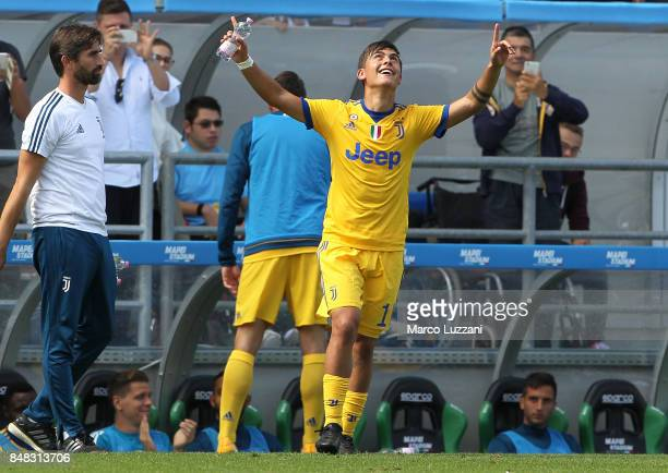 Paulo Dybala of Juventus celebrates his third goal during the Serie A match between US Sassuolo and Juventus at Mapei Stadium Citta' del Tricolore on...
