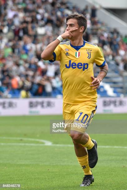 Paulo Dybala of Juventus celebrates scoring first goal during the Serie A match between Sassuolo and Juventus at Mapei Stadium Reggio Emilia Italy on...