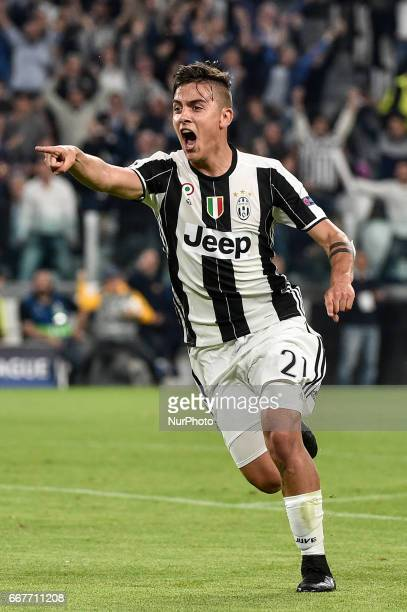 Paulo Dybala of Juventus celebrates scoring second goal during the UEFA Champions League quarter final match between Juventus and Barcelona at the...