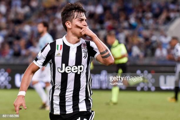 Paulo Dybala of Juventus celebrates scoring second goal during the Italian Supercup Final match between Juventus and Lazio at Stadio Olimpico Rome...