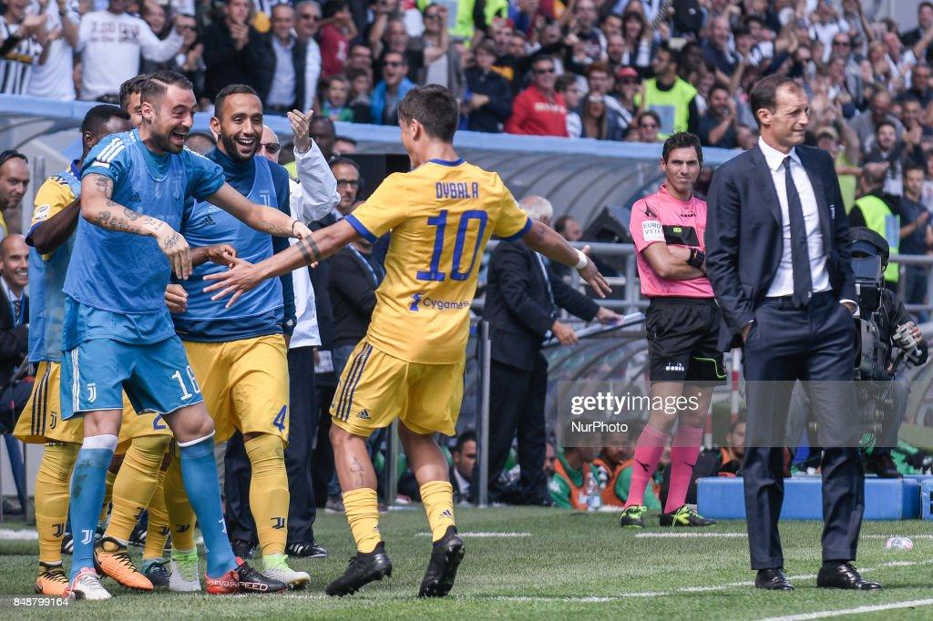 Paulo Dybala of Juventus celebrates scoring third goal during the Serie A match between Sassuolo and Juventus at Mapei Stadium, Reggio Emilia, Italy on 17 September 2017.