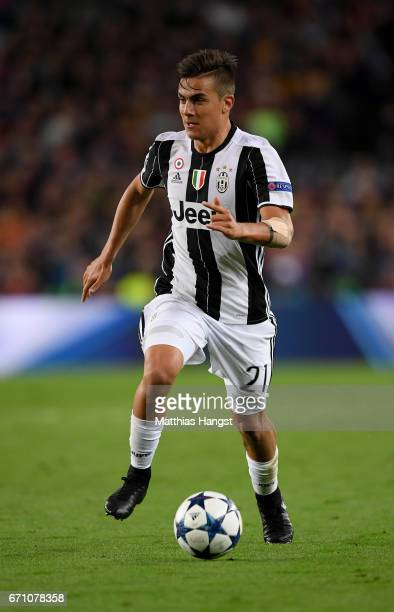Paulo Dybala of Juventus controls the ball during the UEFA Champions League Quarter Final second leg match between FC Barcelona and Juventus at Camp...