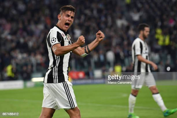 Paulo Dybala of Juventus FC celebrate after scoring a goal during the UEFA Champions League quarter final first leg match between Juventus FC and Fc...