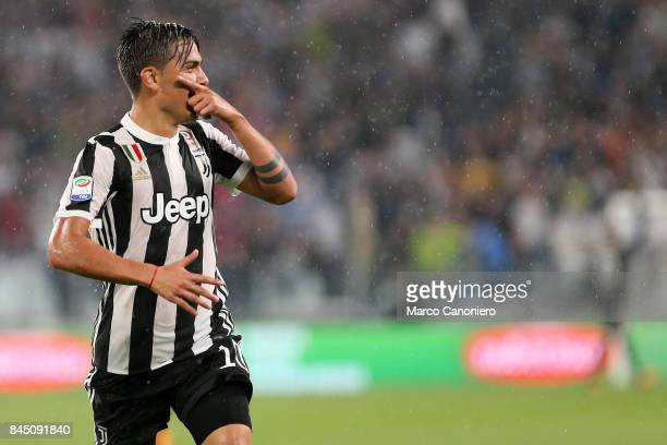 Paulo Dybala of Juventus FC celebrate after scoring a goal during the Serie A football match between Juventus FC and Ac Chievo Verona Juventus Fc...