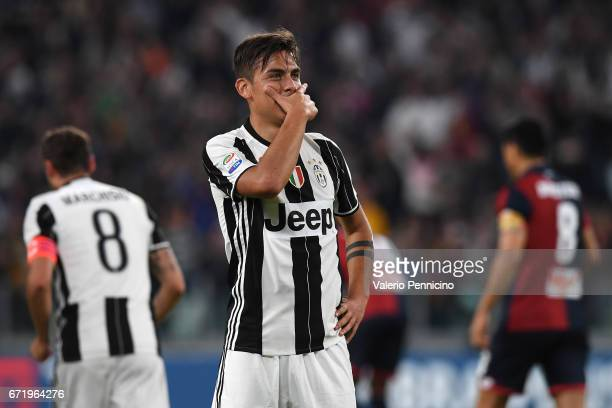 Paulo Dybala of Juventus FC celebrates a goal during the Serie A match between Juventus FC and Genoa CFC at Juventus Stadium on April 23 2017 in...