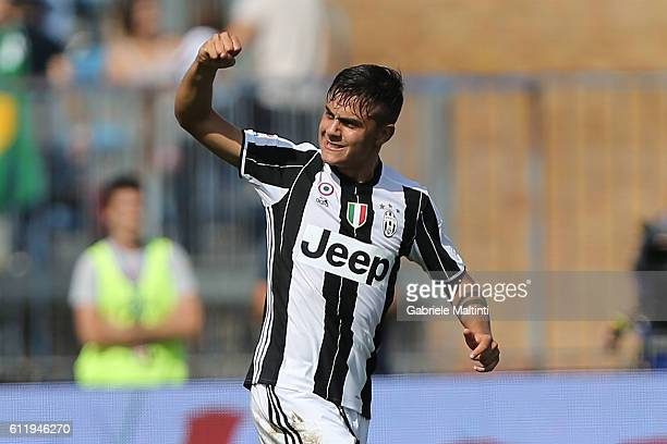 Paulo Dybala of Juventus FC celebrates after scoring a goal during the Serie A match between Empoli FC and Juventus FC at Stadio Carlo Castellani on...