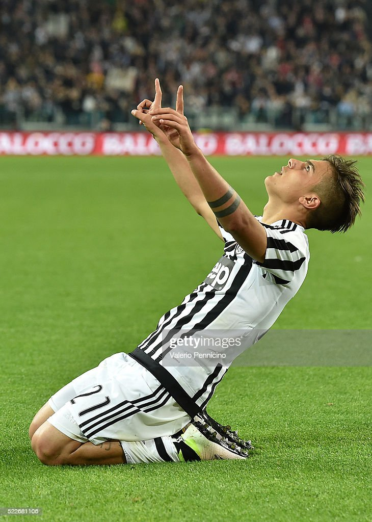 Paulo Dybala of Juventus FC celebrates after scoring his goal from the penalty spot during the Serie A match between Juventus FC and SS Lazio at...