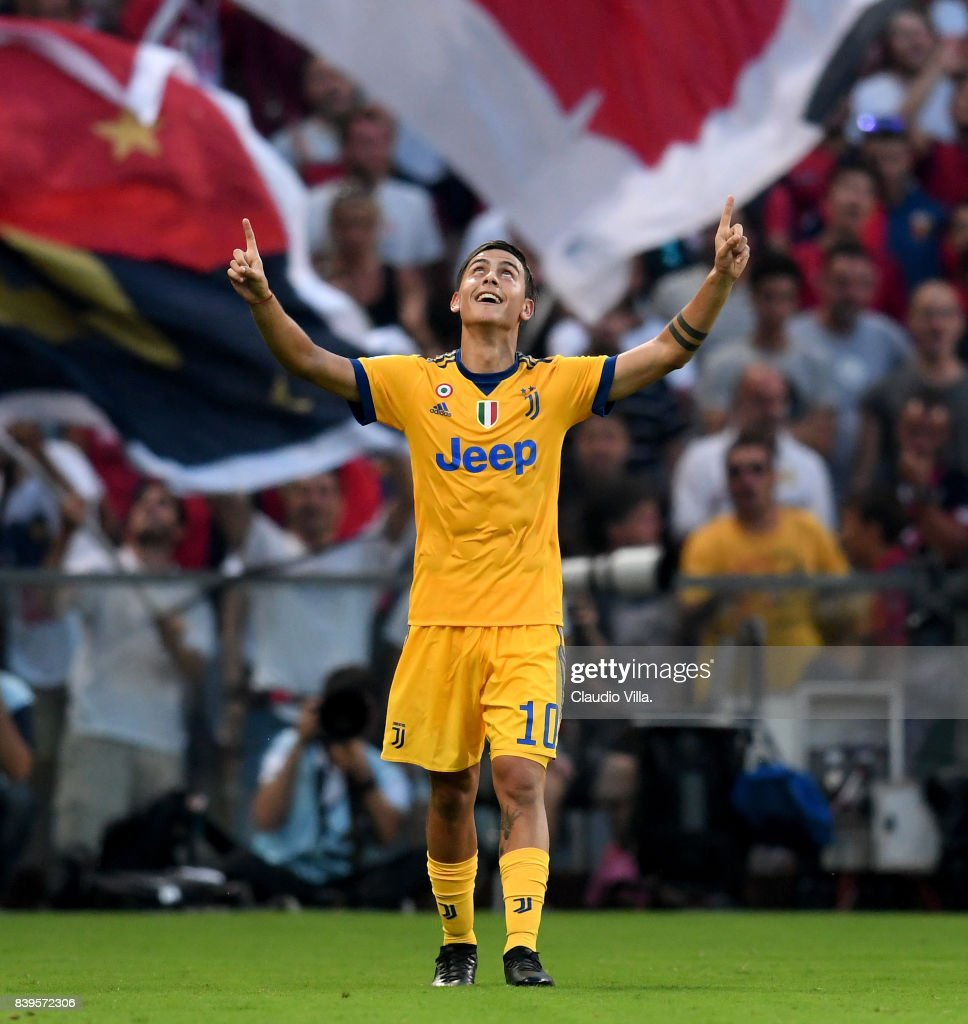Paulo Dybala of Juventus FC #10 celebrates after scoring the fourth goal during the Serie A match between Genoa CFC and Juventus at Stadio Luigi Ferraris on August 26, 2017 in Genoa, Italy.