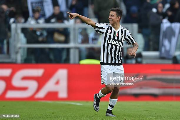 Paulo Dybala of Juventus FC celebrates after scoring the opening goal during the Serie A match between Juventus FC and Hellas Verona FC at Juventus...