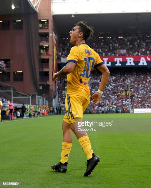 Paulo Dybala of Juventus FC celebrates after scoring the second goal during the Serie A match between Genoa CFC and Juventus at Stadio Luigi Ferraris...