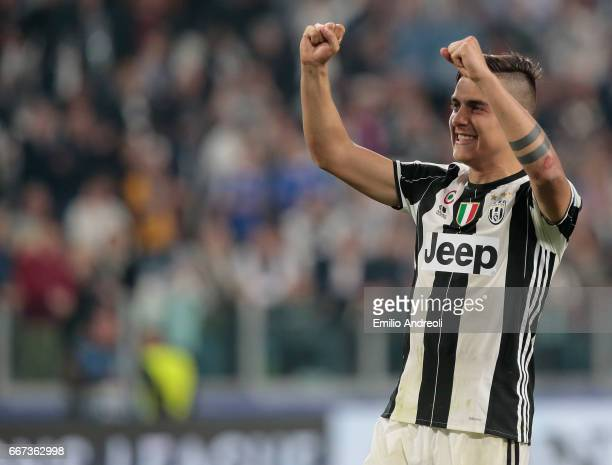 Paulo Dybala of Juventus FC celebrates at the end of the UEFA Champions League Quarter Final first leg match between Juventus and FC Barcelona at...