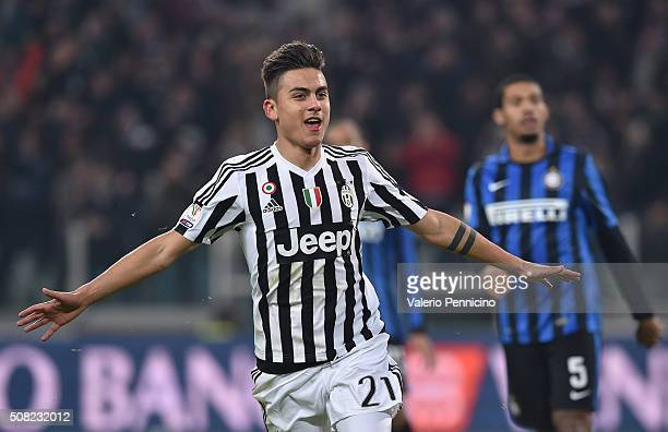 Paulo Dybala of Juventus FC celebrates his goal during the TIM Cup match between Juventus FC and FC Internazionale Milano at Juventus Arena on...