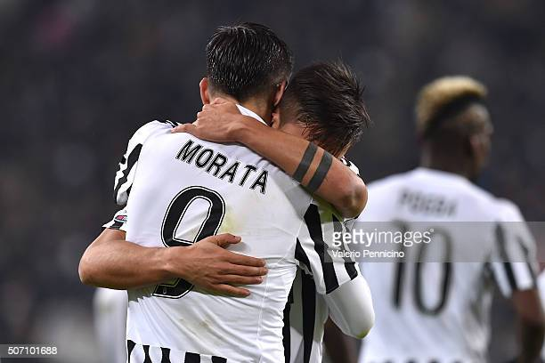 Paulo Dybala of Juventus FC celebrates his goal with team mate Alvaro Morata during the TIM Cup match between Juventus FC and FC Internazionale...