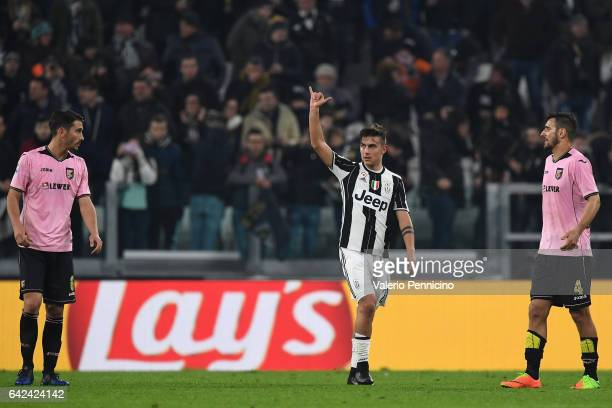 Paulo Dybala of Juventus FC celebrates his second goal during the Serie A match between Juventus FC and US Citta di Palermo at Juventus Stadium on...