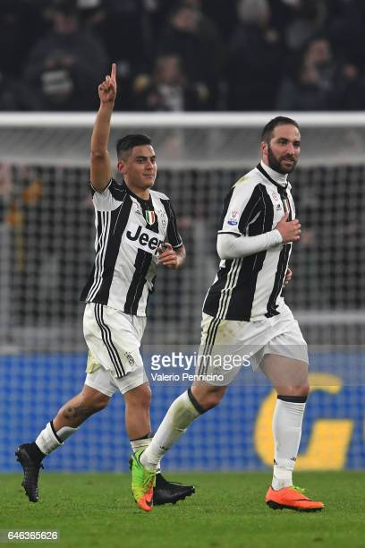 Paulo Dybala of Juventus FC celebrates his second goal with team mate Gonzalo Higuain during the TIM Cup match between Juventus FC and SSC Napoli at...