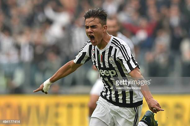 Paulo Dybala of Juventus FC celebrates the opening goal during the Serie A match between Juventus FC and Atalanta BC at Juventus Arena on October 25...