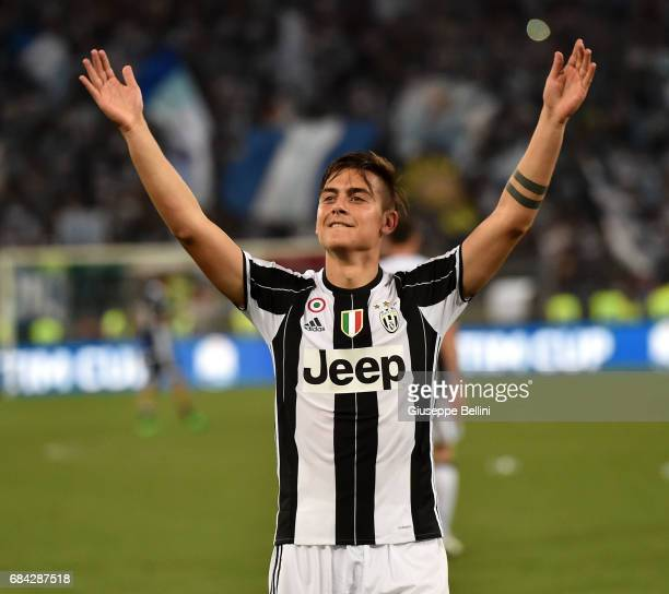 Paulo Dybala of Juventus FC celebrates the victory after the TIM Cup Final match between SS Lazio and Juventus FC at Olimpico Stadium on May 17 2017...