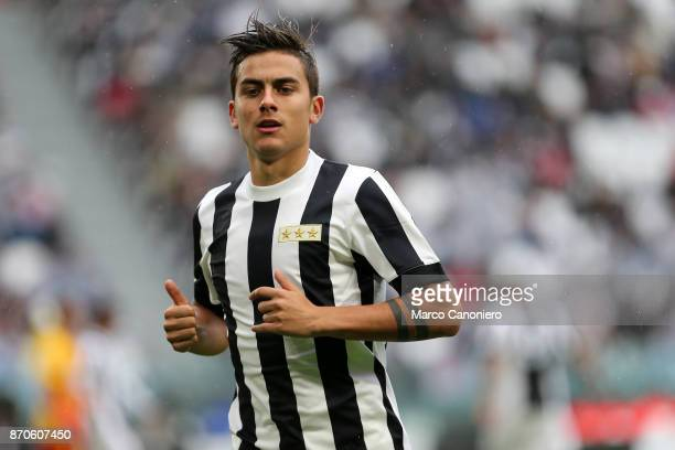 Paulo Dybala of Juventus FC during the Serie A football match between Juventus FC and Benevento Calcio Juventus players wear a special shirt released...