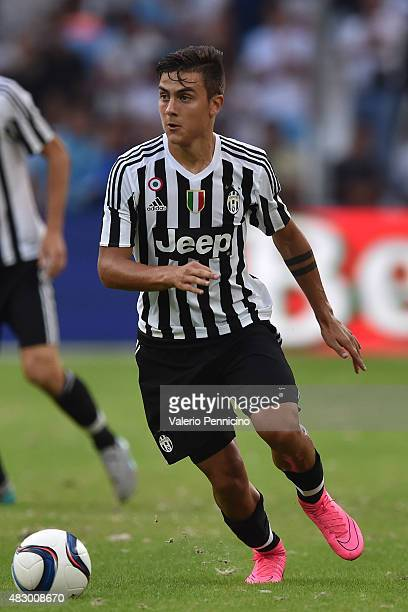Paulo Dybala of Juventus FC in action during the preseason friendly match between Olympique de Marseille and Juventus FC at Stade Velodrome on August...
